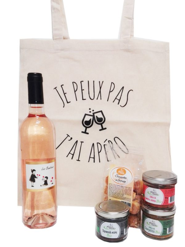 Sac tote bag + 1 bouteille de rosé et kit apéro